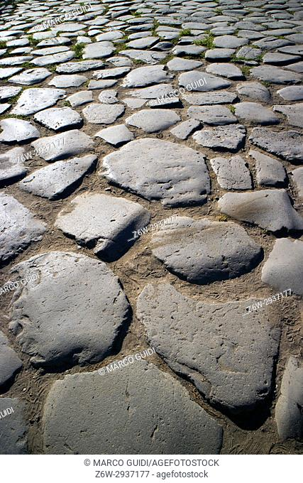 Ancient Roman paved road. Italy