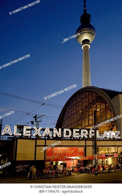 Alexanderplatz S-Bahn railway station and TV tower, Mitte, Berlin, Germany, Europe
