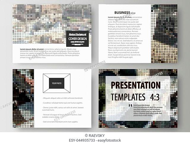 Set of business templates for presentation slides. Easy editable abstract vector layouts in flat design. Colorful background made of dotted texture for travel...