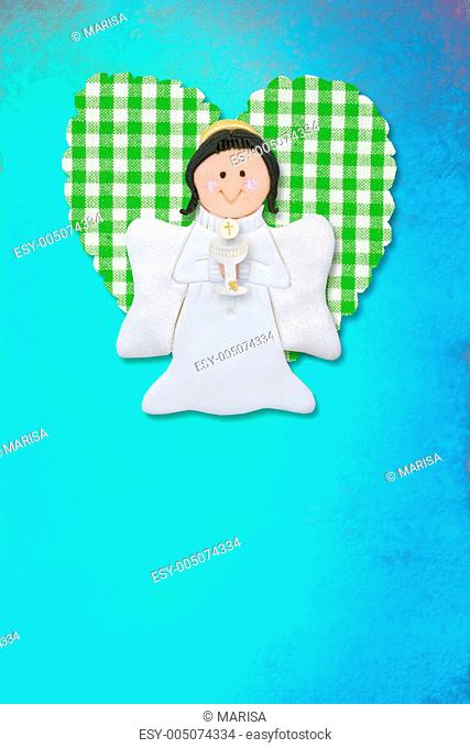 cheerful first communion card, angel and heart