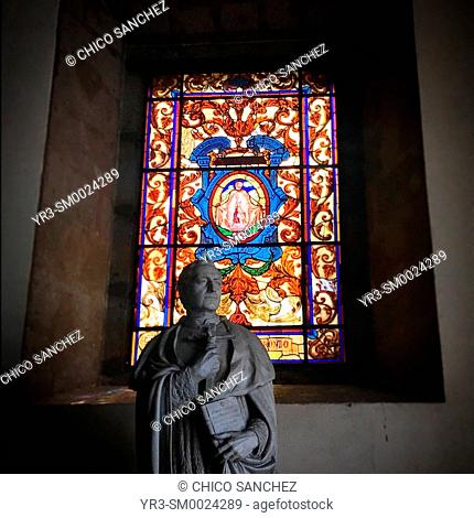 A sculpture of a decorated stained glass window int front of the Our Lady of Guadalupe basilica in Mexico City, Mexico