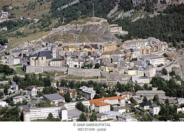Quaint townscape nestled among mountains, Briancon, French Alps, France