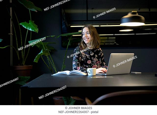 Woman working at a office