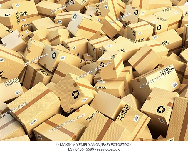 Warehouse or delivery concept background. Heap of cardboard delivery boxes or parcels. 3d illustration