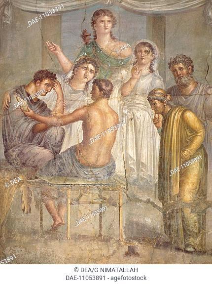 Fresco depicting Admetus and Alcestis, from the Basilica in Herculaneum, Campania. Roman Civilization, 1st Century.  Naples