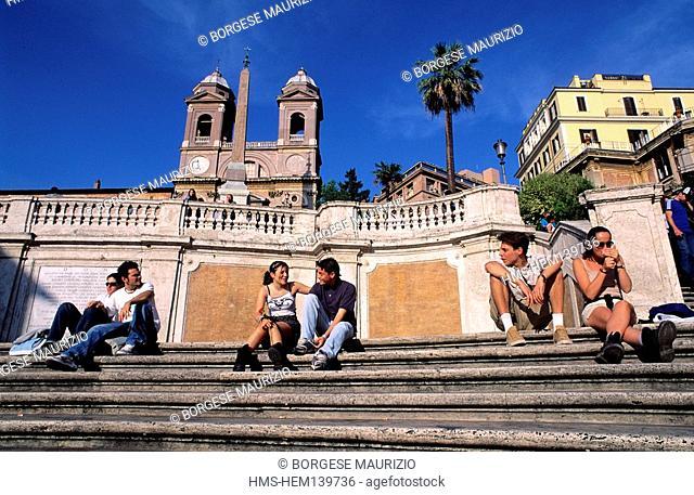 Italy, Lazio, Rome, Piazza di Spagna Spain Square, stairs of the Trinita dei Monti Church