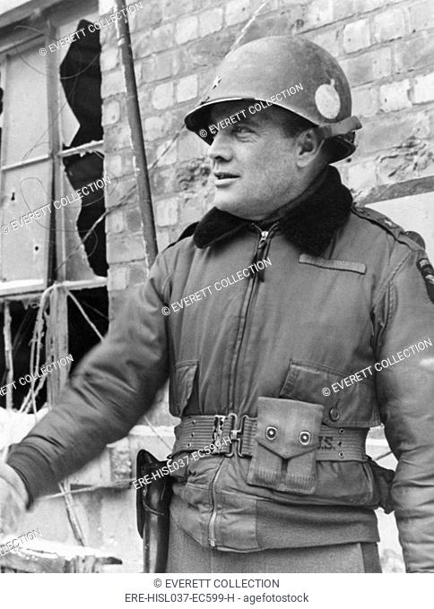 Brigadier General Anthony C. McAuliffe in Bastogne, Belgium. He gave the single-word reply of 'Nuts!' to a German surrender ultimatum