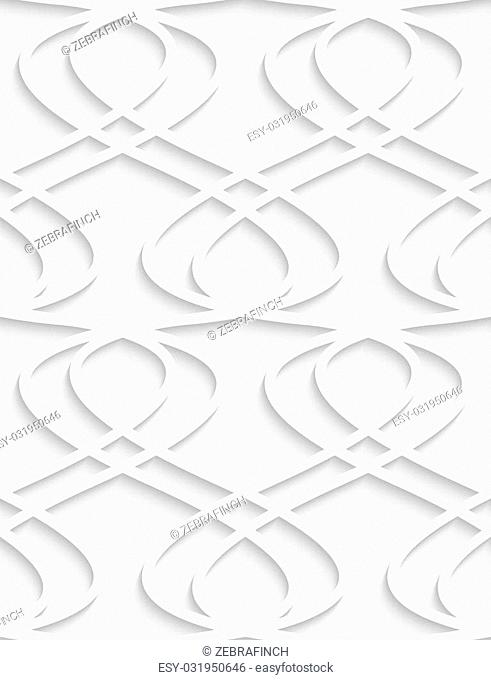 White and gray background with cut out of paper effect. Modern 3D seamless pattern.Paper cut out fence grid
