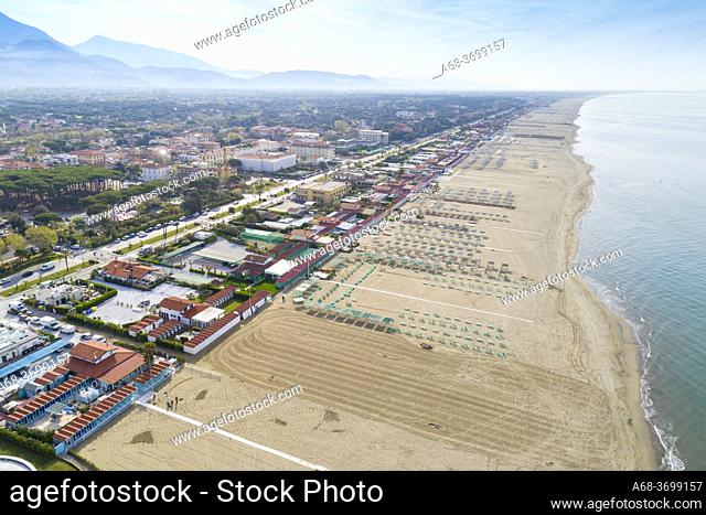 Long sandy beach in Forte dei Marmi, Province of Lucca, Italy