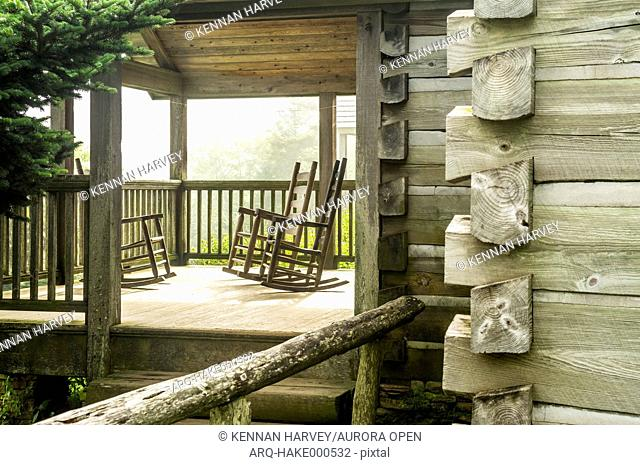 Mount Leconte Lodge porch of a cabin with rocking chairs, Great Smoky Mountain National Park, Gatlinburg, Tennesee