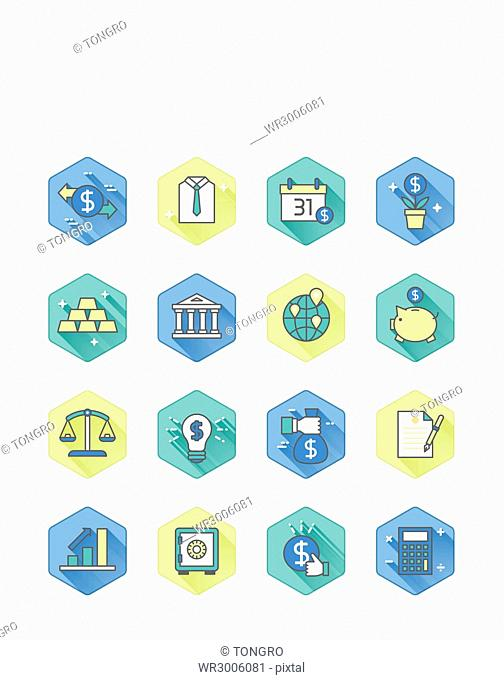 Set of icons related to economy