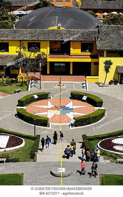 Yellow equator line and Chakana cross, Ciudad Mitad del Mundo, city of the center of the world, San Antonio de Pichincha, Pichincha Province, Ecuador