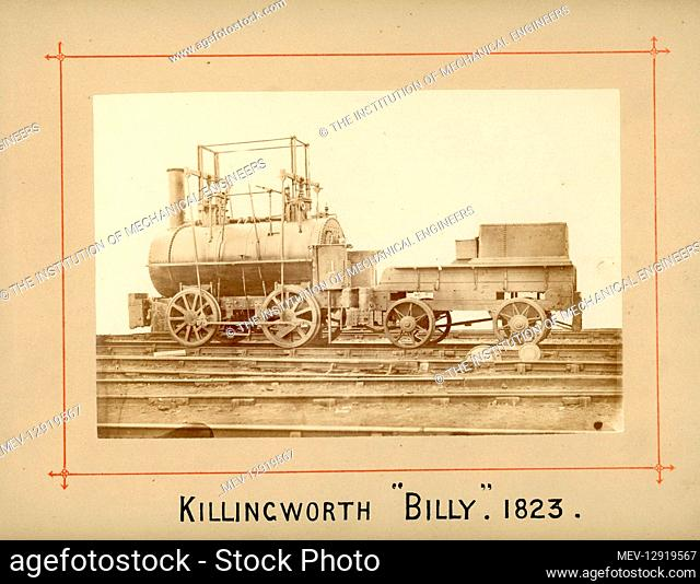 Old Killingworth 4 wheeled engine by George Stephenson, 1823. Listed in RE Bleasdale's Locomotive Engines catalogue, entry 1274