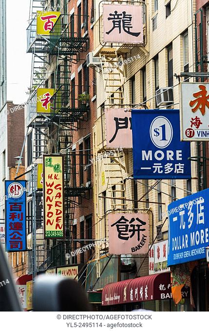 New York City, USA, Street Scenes, Chinatown District, Chinese Signs