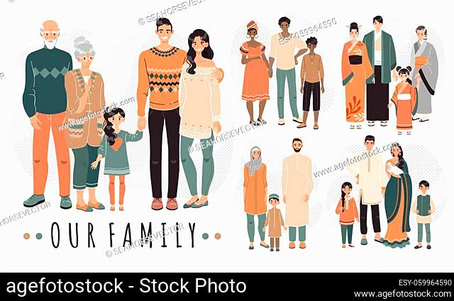 Families from different countries, cartoon characters vector illustration. Happy family together, parents and children. People in traditional clothes of Asian