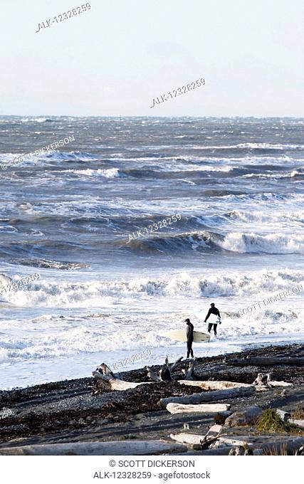 Two Surfers Entering The Waters Of Kachemak Bay, Homer, Kenai Peninsula, Southcentral Alaska, USA