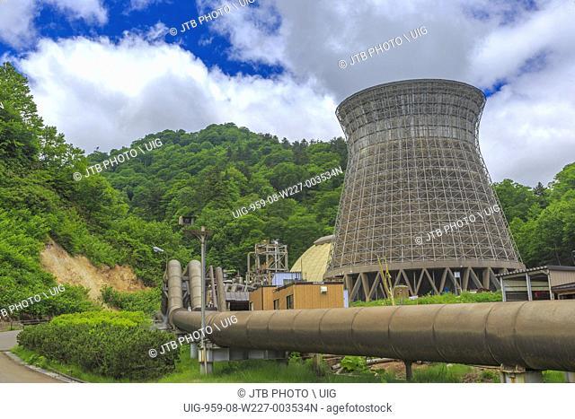 Japan, Tohoku Region, Iwate Prefecture, Hachimantai, View of Matsukawa Geothermal Power Station