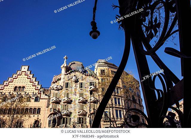 Passeig de Gracia, Amatller House Puig i Cadafalch and Batllo House Gaudi both in art nouveau style at the Passeig de Gracia. Barcelona. Spain