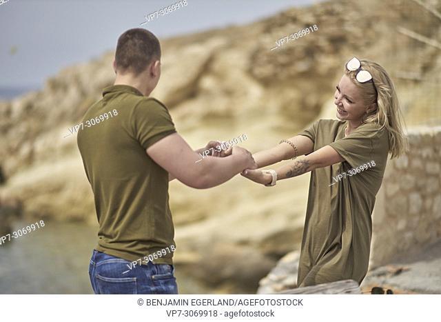 Happy young couple, Russian ethnicity, Hersonissos, Crete, Greece