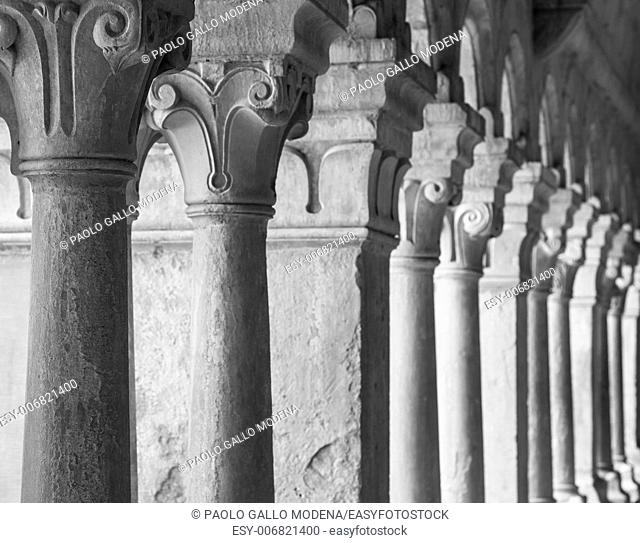 France, Provence. Senanque Abbey corridor detail. More than 800 years of history in this picture
