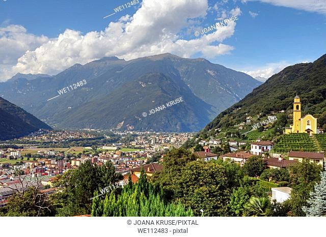 View of Bellinzona and the Alps