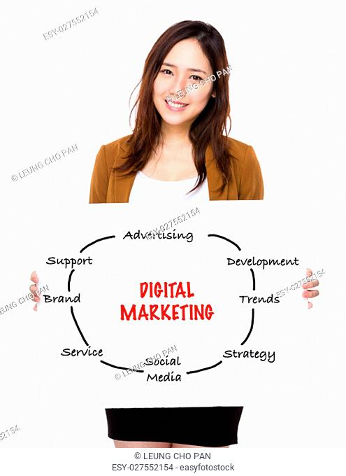 Businesswoman holding a poster showing with digital marketing concept