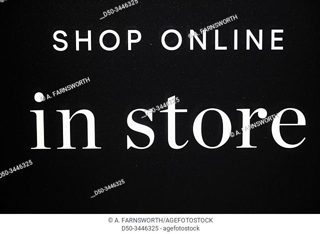 "Stockholm, Sweden A shop window sign saying :""""Shop online in store. """""