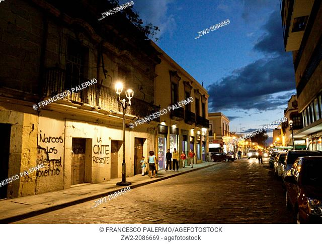 Street and old house at stunning dusk. Oaxaca, Oaxaca. Mexico
