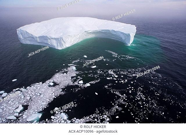 Aerial view of an iceberg in the Strait of Belle Isle, Southern Labrador, Newfoundland & Labrador, Canada