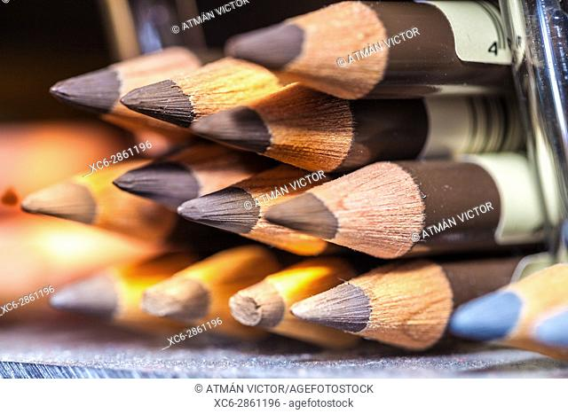 colour pencils stacked in horizontal position