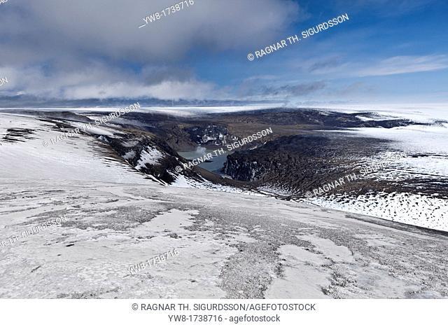 Overlooking Grimsvotn volcanic crater from Mt Grimsfjall, Vatnajokull Ice Cap, Iceland