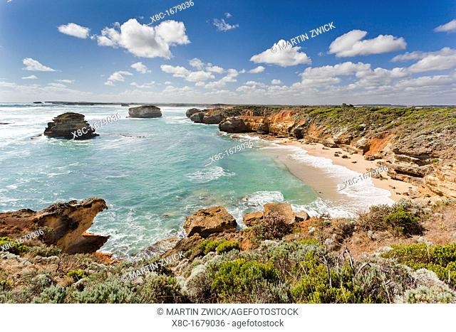 Bay of Martyrs with Bay of Islands, Great Ocean Road, Australia The Great Ocean Road is one of the most famous scenic roads worldwide It crosses the Port...