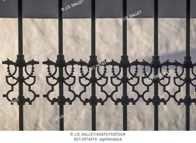 Spain, Andalusia, Malaga Province, ironwork on a window at Mijas