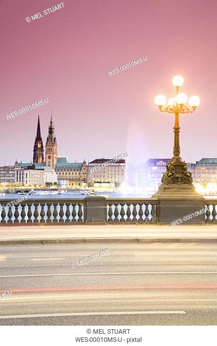 Germany, Hamburg, View from Lombardobrücke to Alster (multiple exposure)