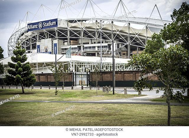 Major sports venue, Allianz Stadium, Moore Park, Sydney, New South Wales, Australia. The Allianz Stadium, previously known as the Sydney Football stadium