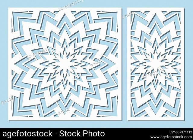 Set decorative card for cutting. Geometry, line, flower pattern. Laser cut panel. Ratio 1: 1, 1: 2. Vector illustration