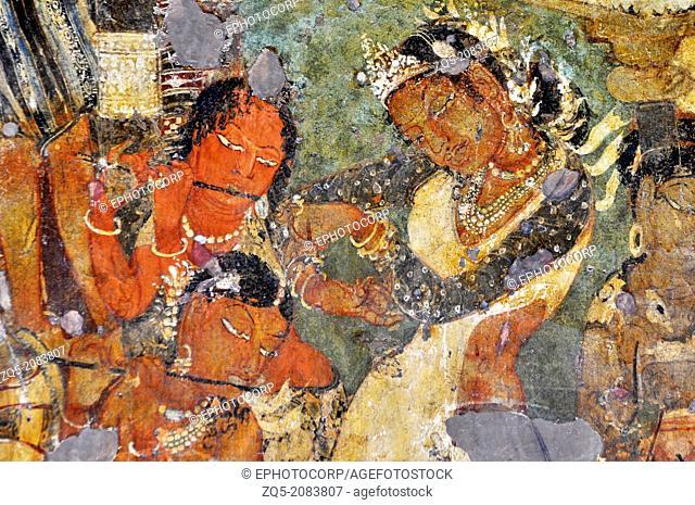 Cave 1: Mahajanaka Jataka - Dancing scene. Ajanta Caves, Aurangabad, Maharashtra, India