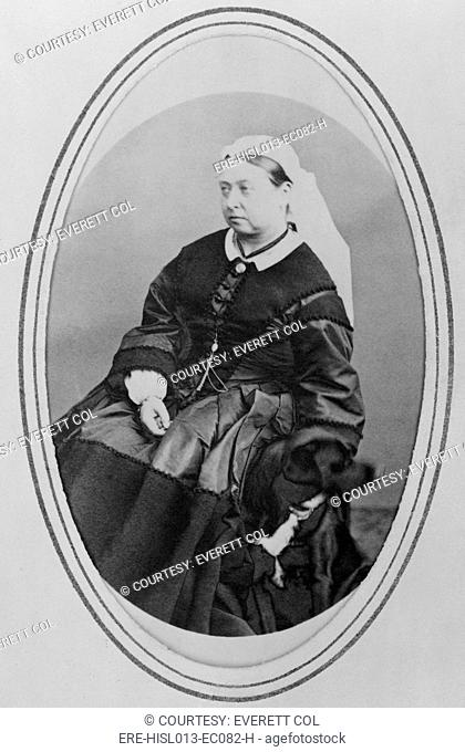 Victoria, Queen of England 1819-1901, in widows mourning clothes three years after the death of he husband, Prince Albert. April 3, 1866