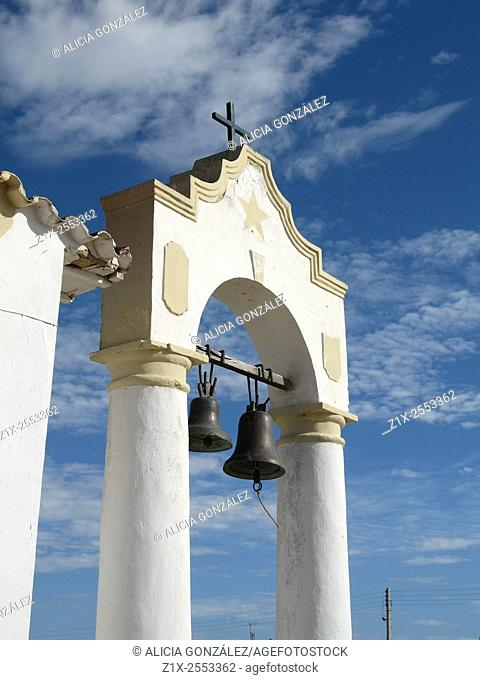 Colonial church building, with ancient bells in Peninsula of Paraguana, Falcon State Venezuela