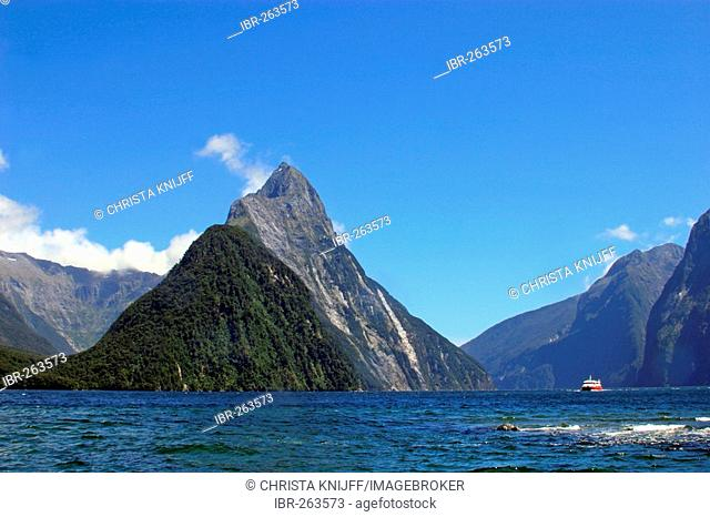 Mitre Peak at Milford Sound, South Island, New Zealand