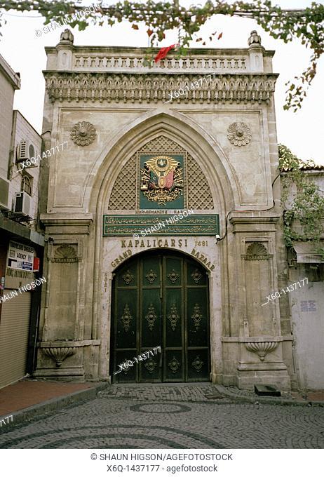 The Nuruosmaniye Gate Nuruosmaniye Kapisi of the Grand Bazaar Kapali Carsi in Istanbul in Turkey in the Middle East