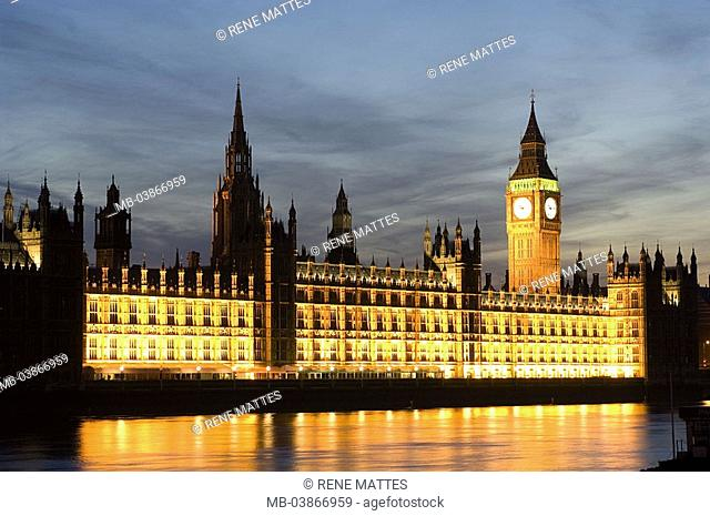 Great Britain, England, London, Houses of Parliament, Big Ben, illumination, river Thames, twilight, series, Europe, city, capital, city-opinion, buildings