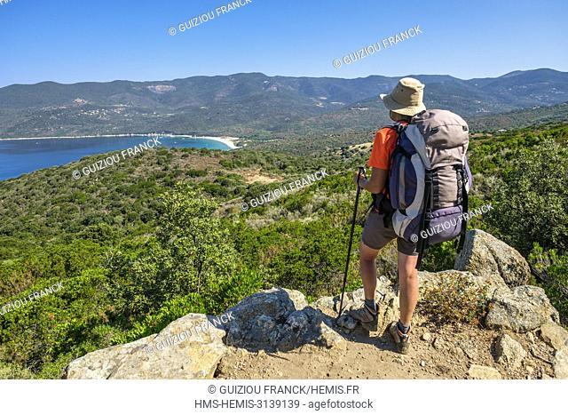 France, Corse-du Sud (2A), Taravo region, Mare e Monti Sud hiking trail, between Porto Pollo and Coti-Chiavari, Cupabia bay and Cupabia beach