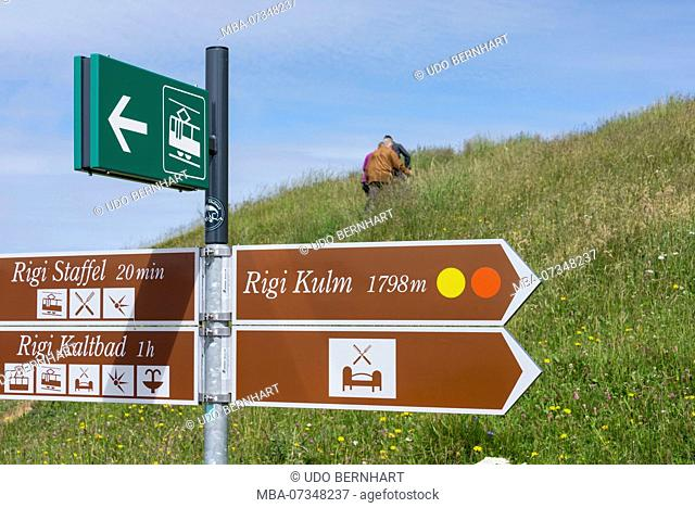 Hiking signs on the Rigi, near Lucerne, Lake Lucerne, Canton Lucerne, Switzerland