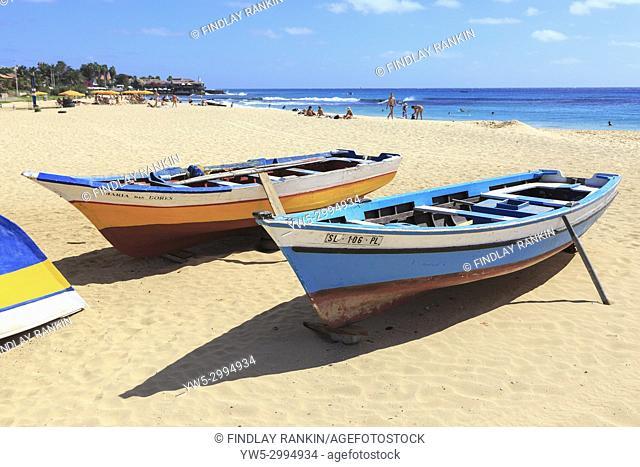 View along south beach at Santa Maria, Sal, Salinas, Cape Verde, Africa