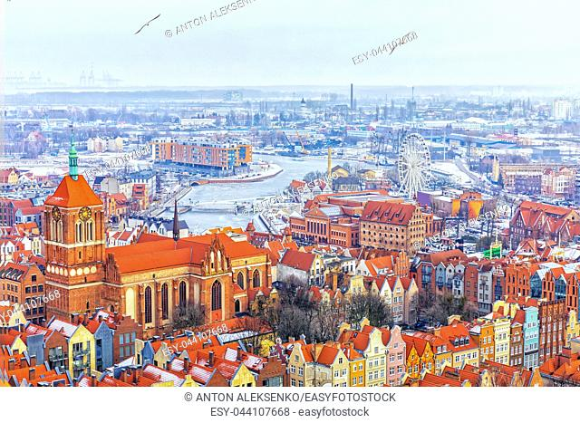 View of Gdansk Old town, Church of St John and the Motlawa, Poland