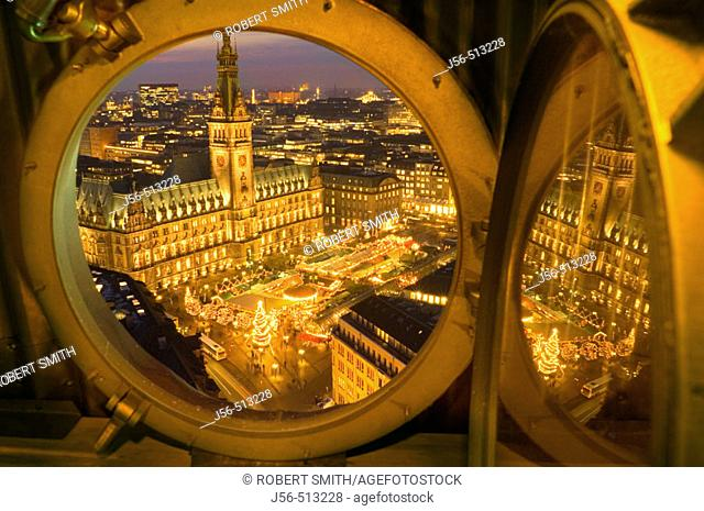 Chritsmas market and City Hall, Hamburg, Germany, at night