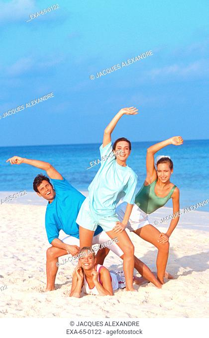 Group of friends on beach