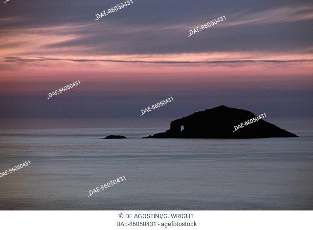 Sunset at Esha Ness, Mainland, Shetland Islands, Scotland, United Kingdom