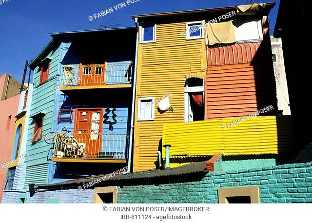 Colourful house fronts in La Boca, harbour quarter, Buenos Aires, Argentina